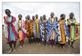Femmes Masaï dans une danse traditionnelle d'accueil